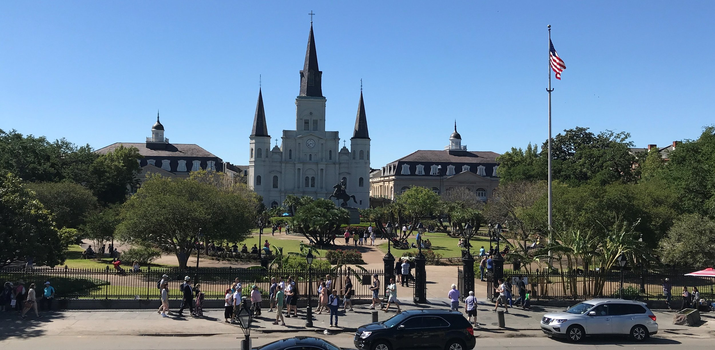 Near the Mississippi River looking back at Jackson Square and the St. Louis Cathedral