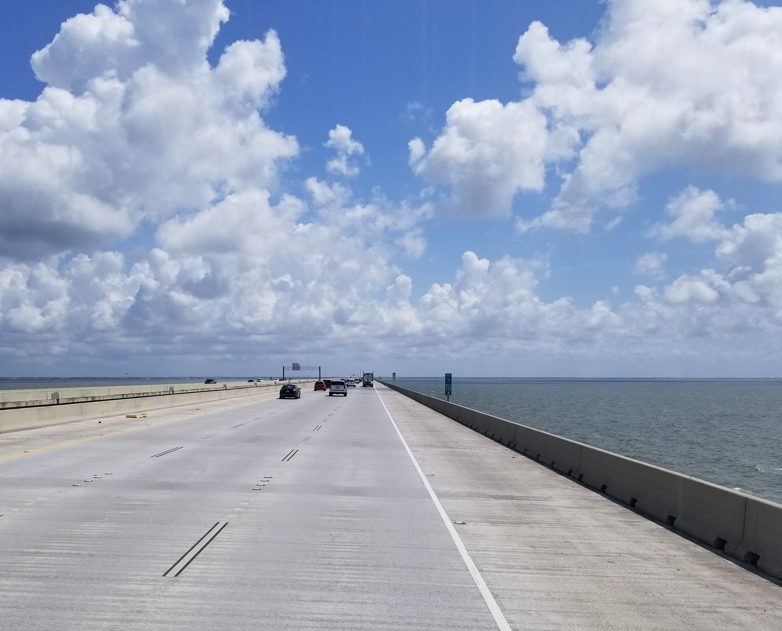 Leaving New Orleans and crossing  Lake Pontchartrain  and heading to Biloxi, Mississippi