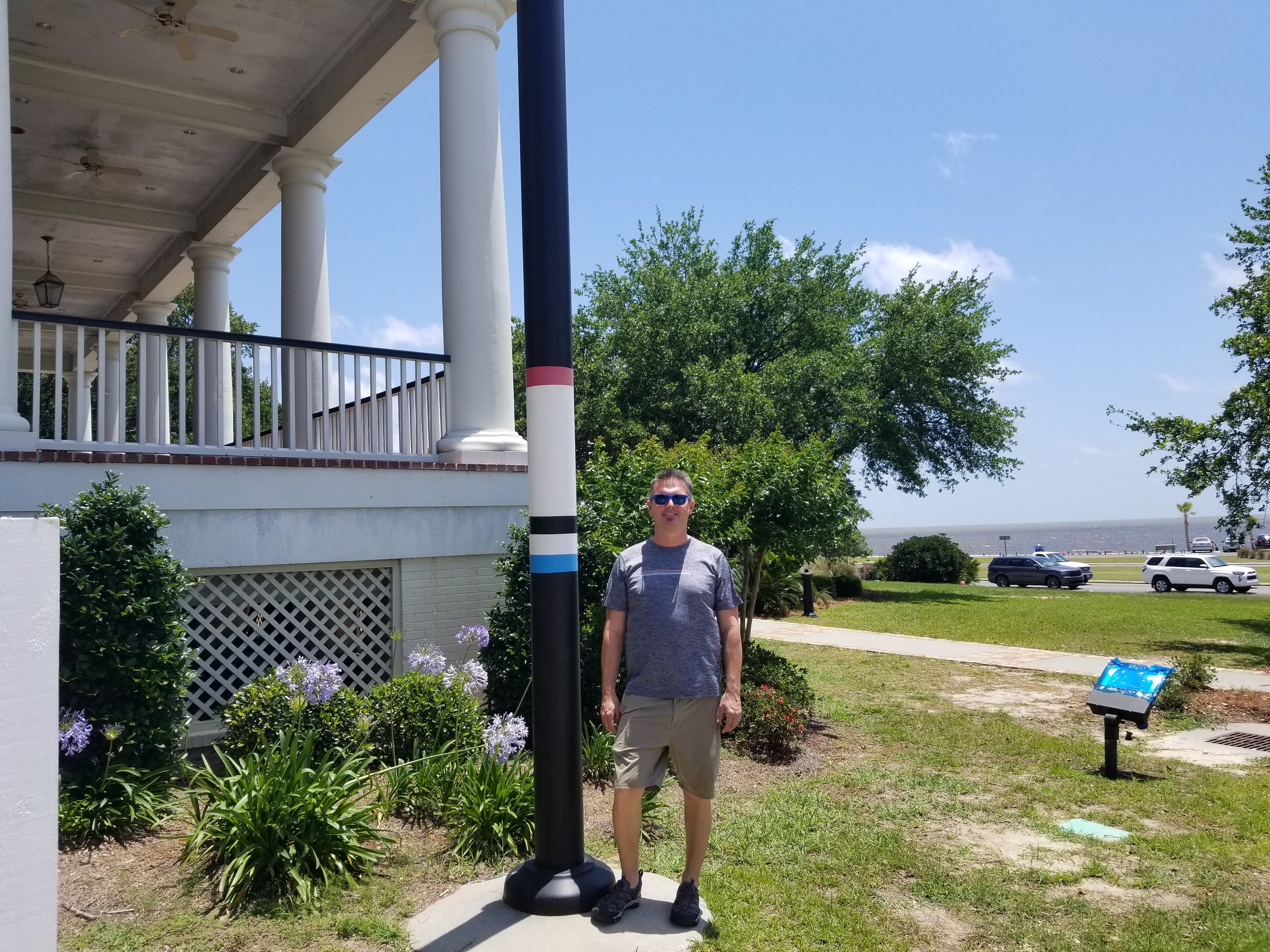 High water marks: Katrina = Red, Camille = Blue and the Base Flood Elevation (20 ft) = Black. During Katrina (2005), the storm surge level at this location was 22 feet above mean sea level and 19.5 feet during Camille (1969)
