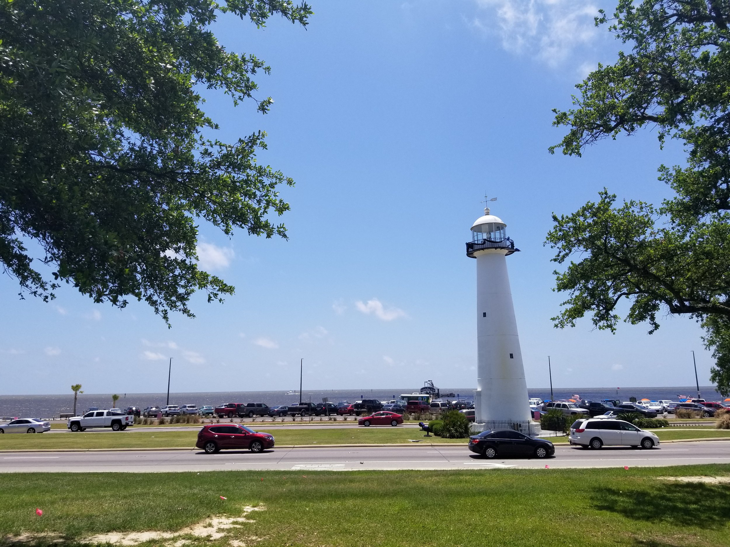 """""""The  Biloxi Lighthouse  was erected in 1848 and was one of the first cast-iron lighthouses in the South… The lighthouse has withstood many storms over the years. Katrina's storm surge enveloped a third of the 64-foot tall lighthouse, and the constant pounding from the water and winds toppled many bricks that lined the interior of the cast iron tower. The storm's winds also broke many of the windows in the light cupola and destroyed the structure's electrical system."""""""
