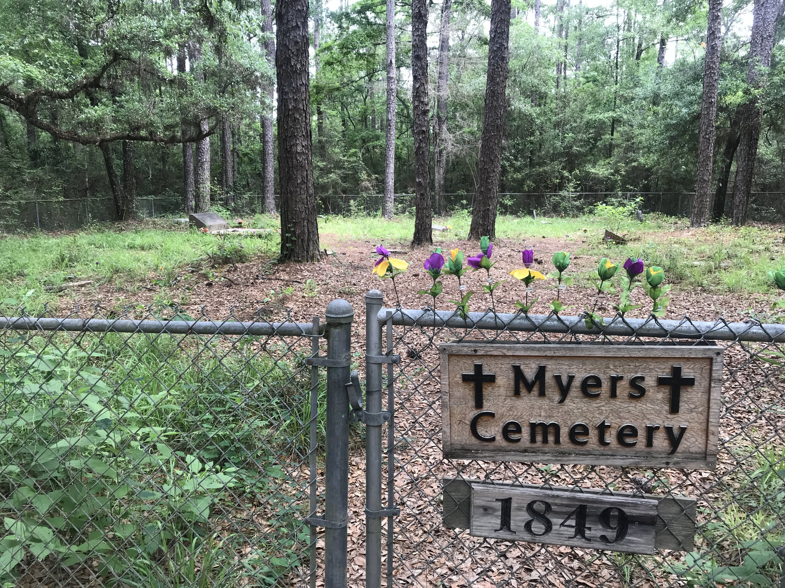 There was a cemetery along our hike. According to the history of  Chickasabogue Park , Frederic Daniel Myers died and was buried in the Myers Cemetery within the park on November 16, 1866.