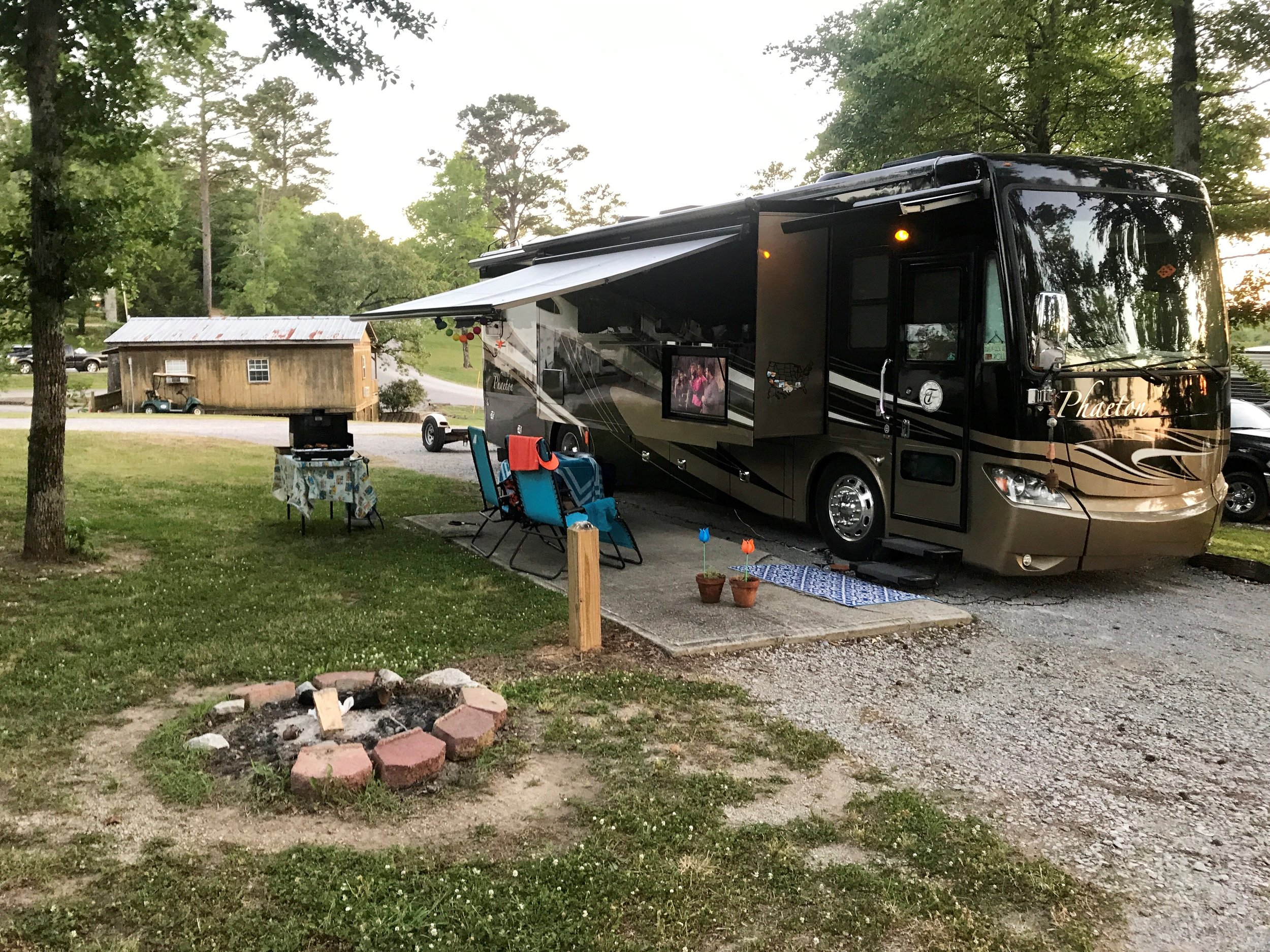 All setup in our spot at Rolling Hills Campground
