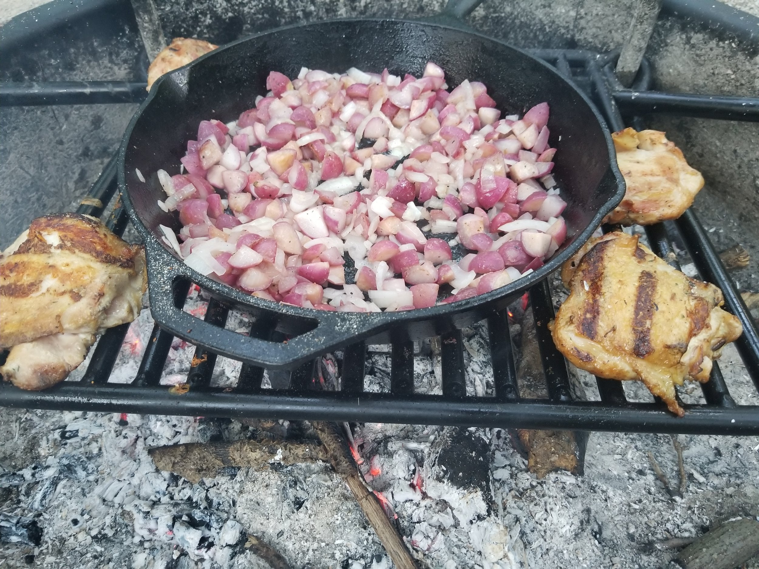 Cooking dinner on the campfire