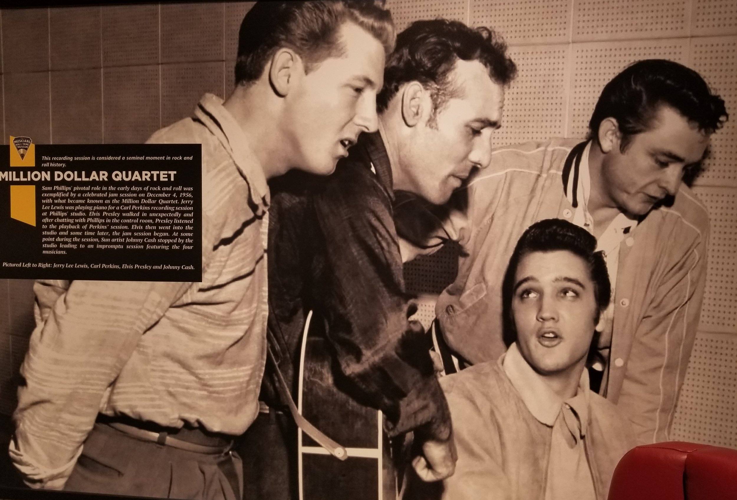"""""""This recording session is considered a seminal moment in rock and roll history… Jerry Lee Lewis was playing piano for a Carl Perkins recording session at Phillips' studio. Elvis Presley walked in unexpectedly and after chatting with Phillips in the control room, Presley listened to the playback of Perkins' session. Elvis then went into the studio and some time later, the jam session began. At some point during the session, Sun artist Johnny Cash stopped by the studio leading to an impromptu session featuring the four musicians"""" Left to Right: Jerry Lew Lewis, Carl Perkins, Elvis Presley and Johnny Cash"""