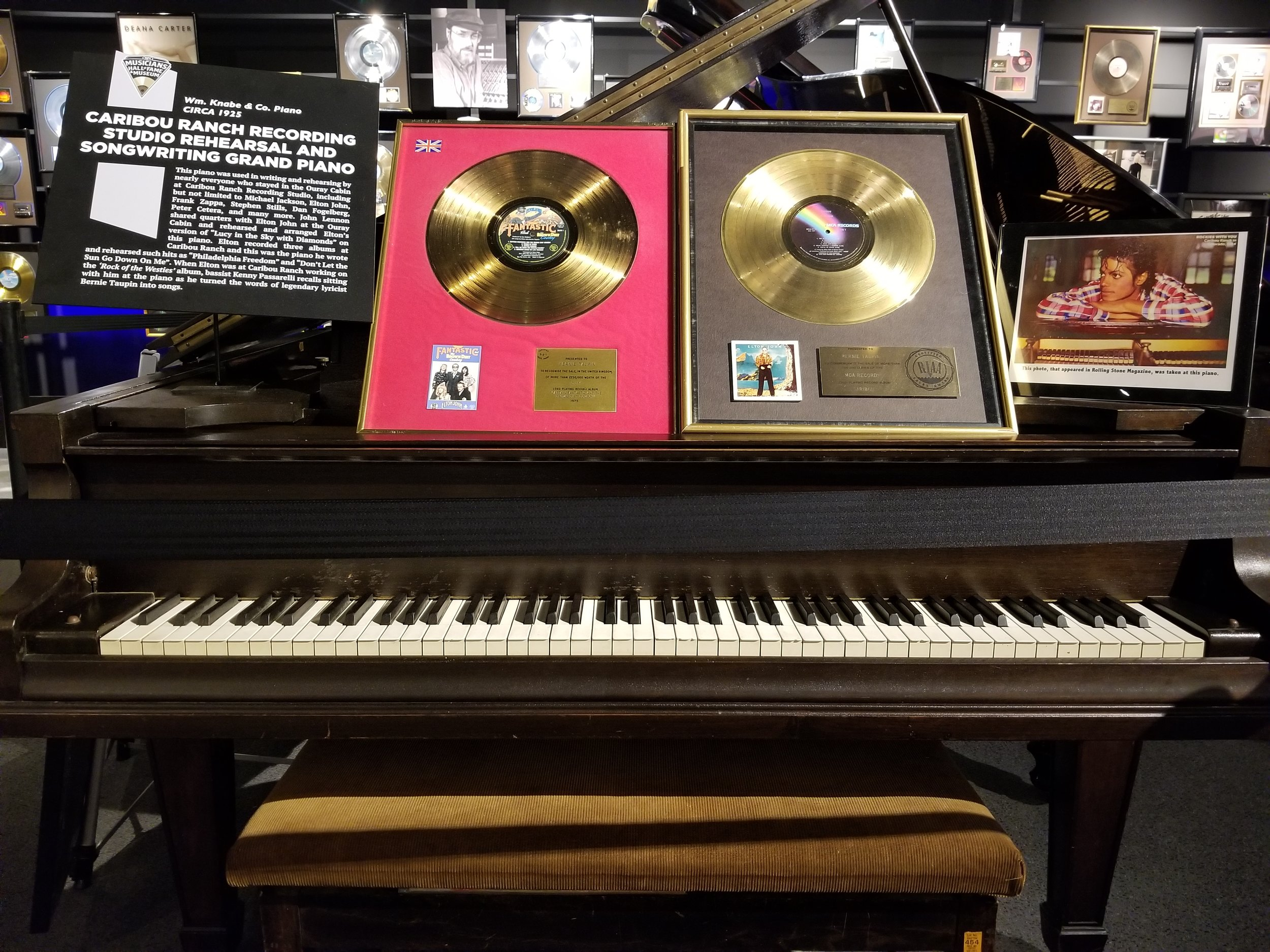 """This piano was used in the writing and rehearsing by nearly everyone who stayed in the Ouray Cabin at Caribou Ranch Recording Studio, including but not limited to Michael Jackson, Elton John, Frank Sappa.. John Lennon shared quarters with Elton John at the Ouray Cabin and rehearsed and arranged Elton's version of """"Lucy in the Sky with Diamonds"""" on this piano"""