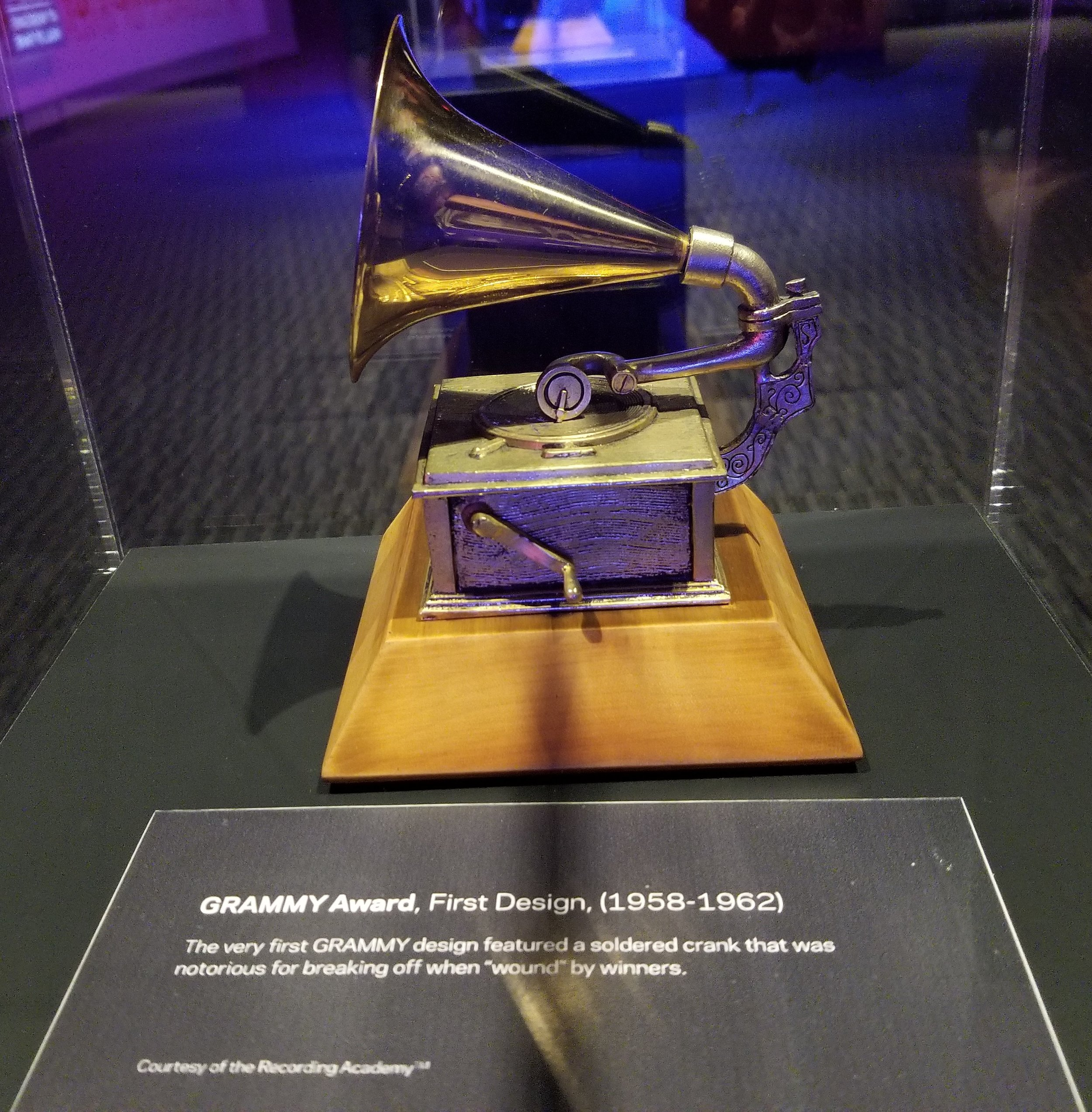 This was the very first GRAMMY Award design from 1958-1962. I enjoyed this exhibit as it showed the different designs over the years
