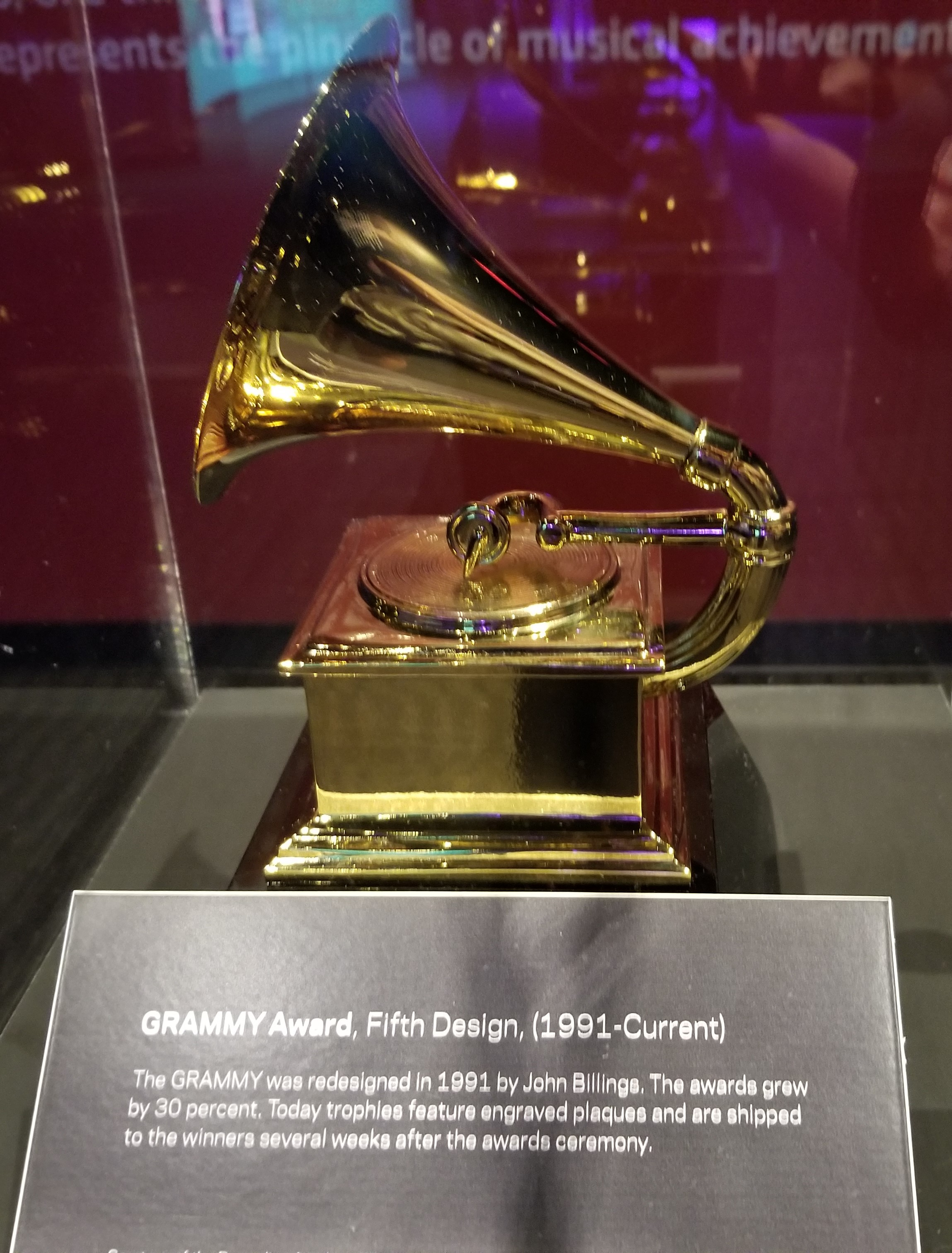 This is the fifth and current GRAMMY Award design (1991 - Current)