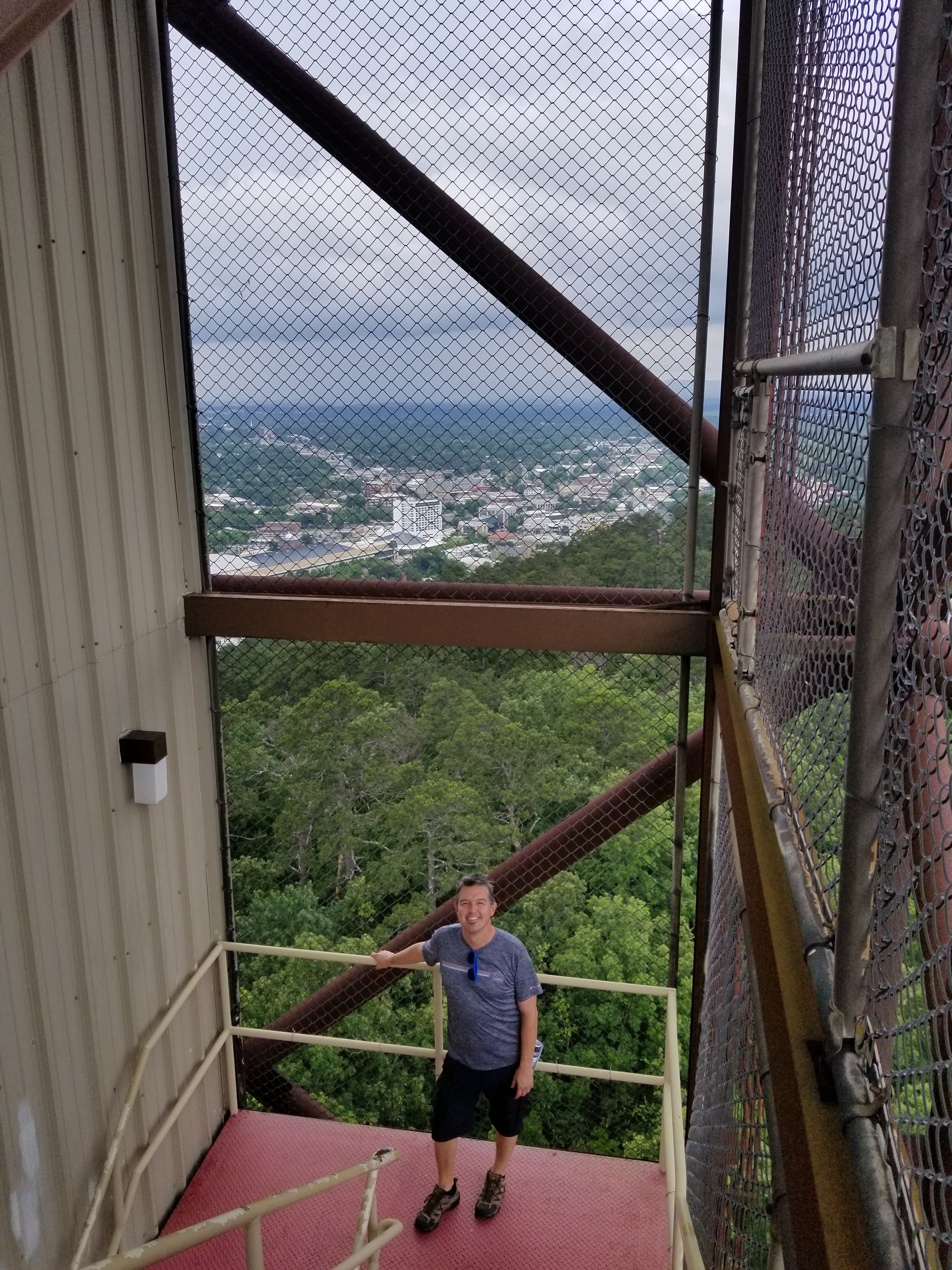 We took the elevator up Mountain Tower and decided to take the stairs down. Hot Springs in the background