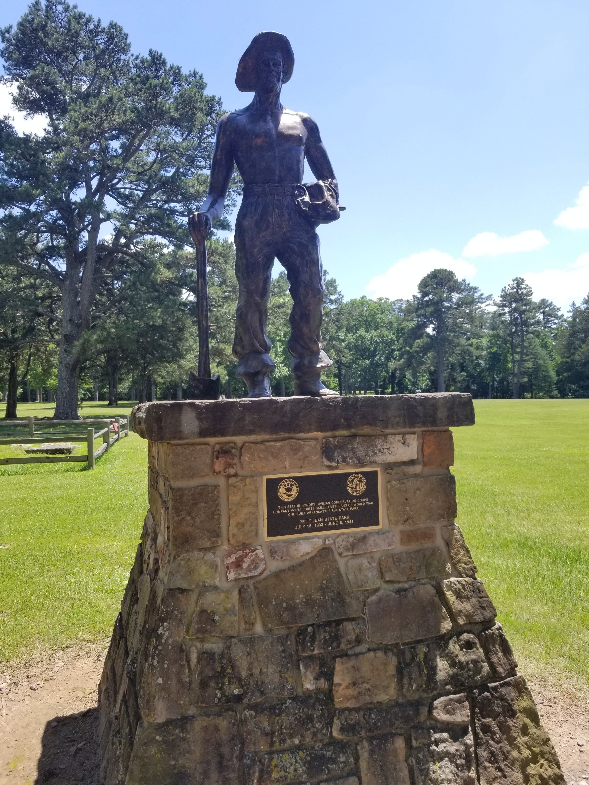 This statue honors Civilian Conversation Corps company V-1781. These skilled veterans of World War I built Petit Jean, Arkansas's first state park