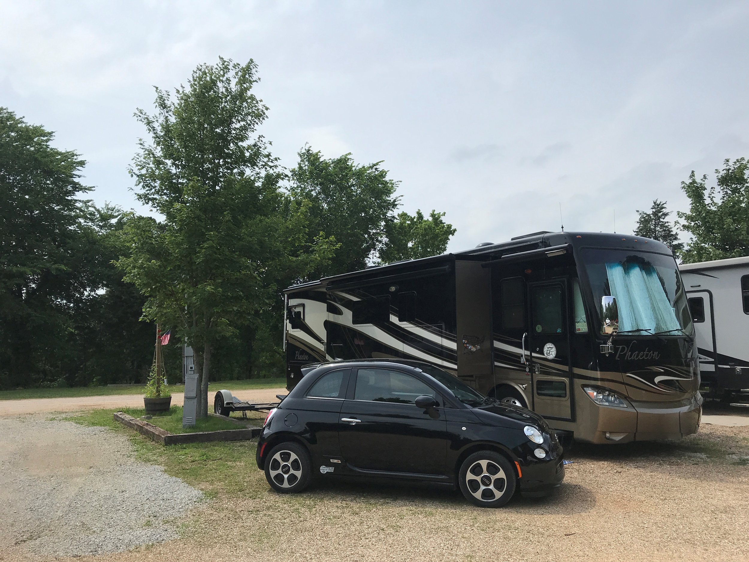 Our spot at Green Tree RV & Campground, vehicles freshly washed