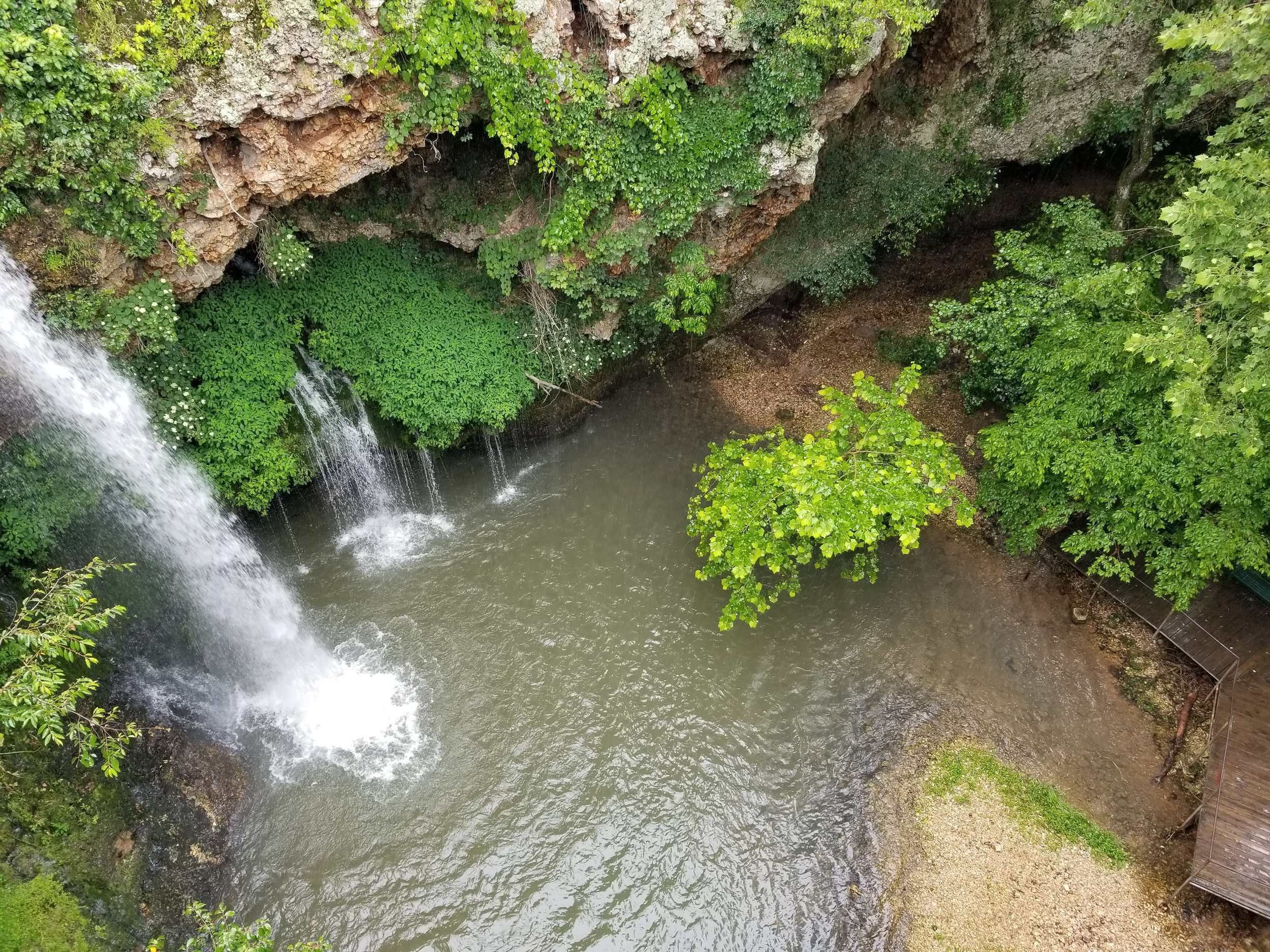 Looking down at the waterfall