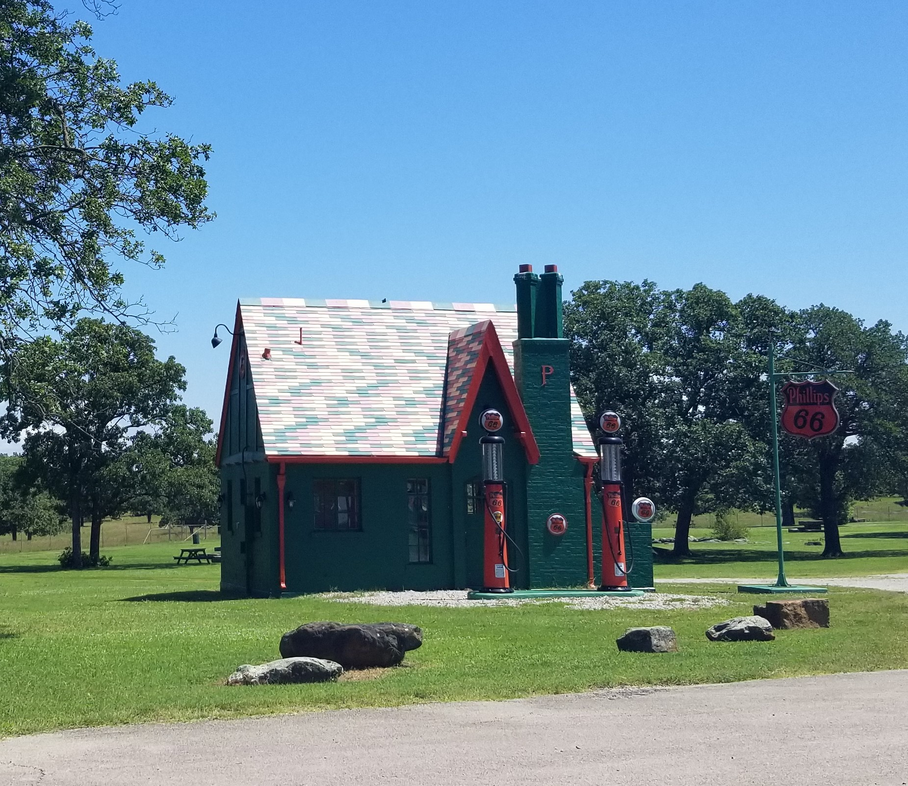 Phillips 66 gas station replica on the grounds of  Woolaroc Museum & Wildlife Preserve