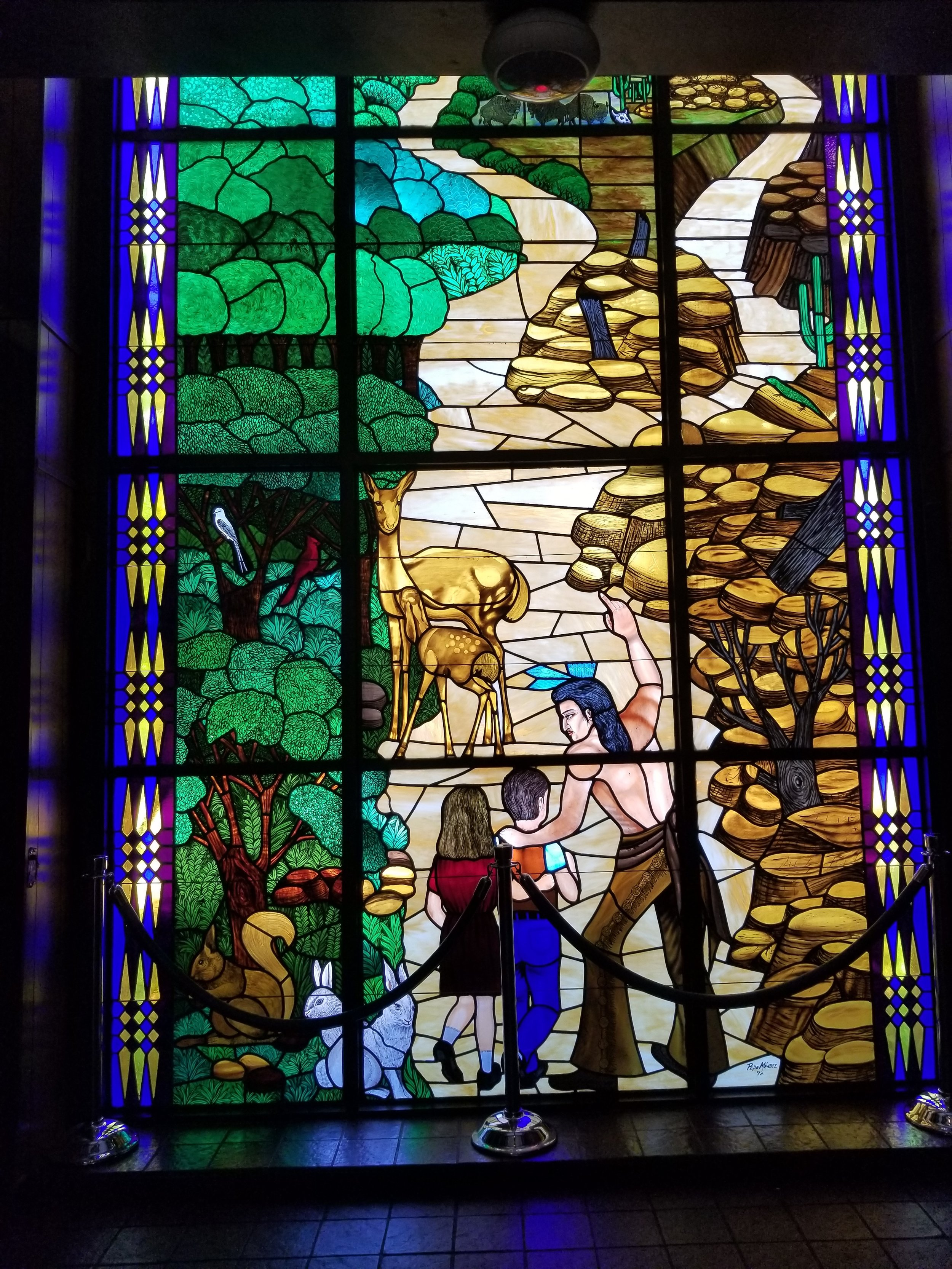 This beautiful stained glass was part of the Heritage Center. The Heritage Center had AC, restrooms, table and chairs and played movies about Woolaroc. It was the perfect spot to have our picnic lunch and get a break from the heat