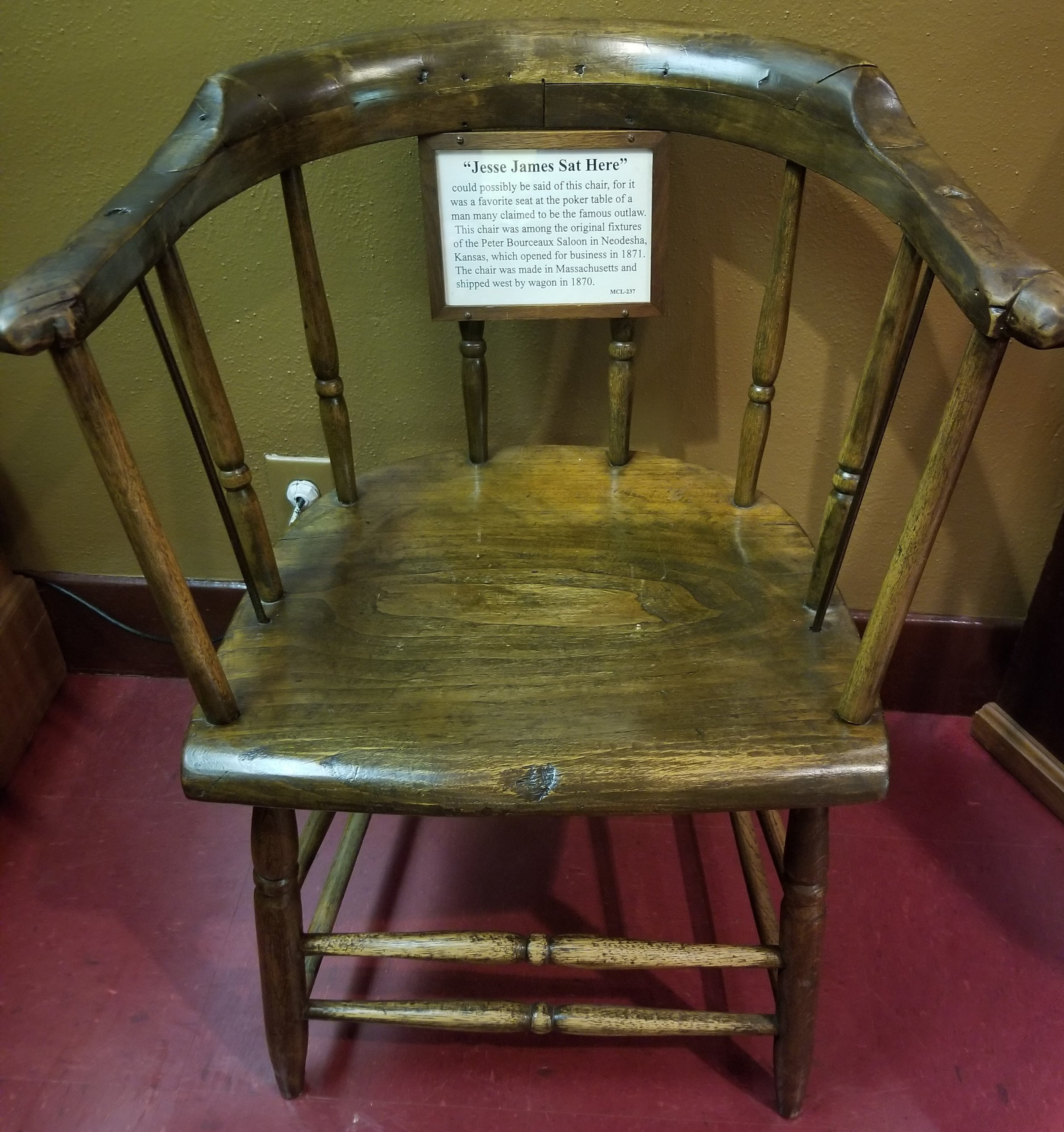 """Jesse James might have sat in this chair as """"it was a favorite seat at the poker table of a man many claimed to be the famous outlaw"""""""