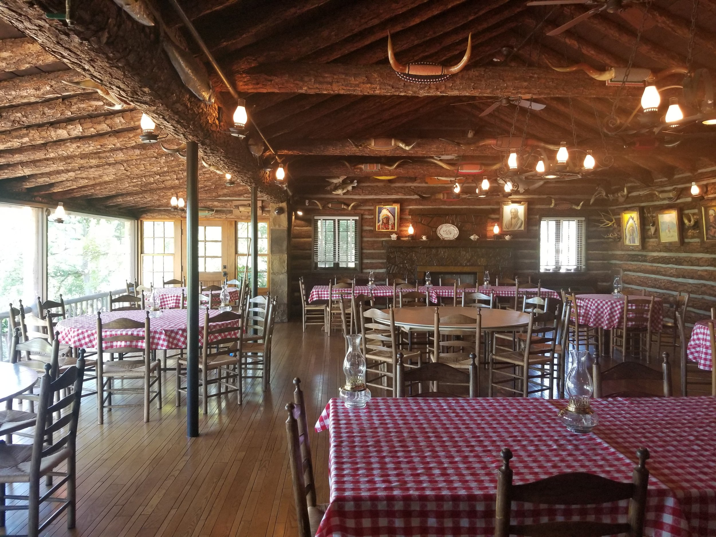Inside of the Lodge, which you can rent for events