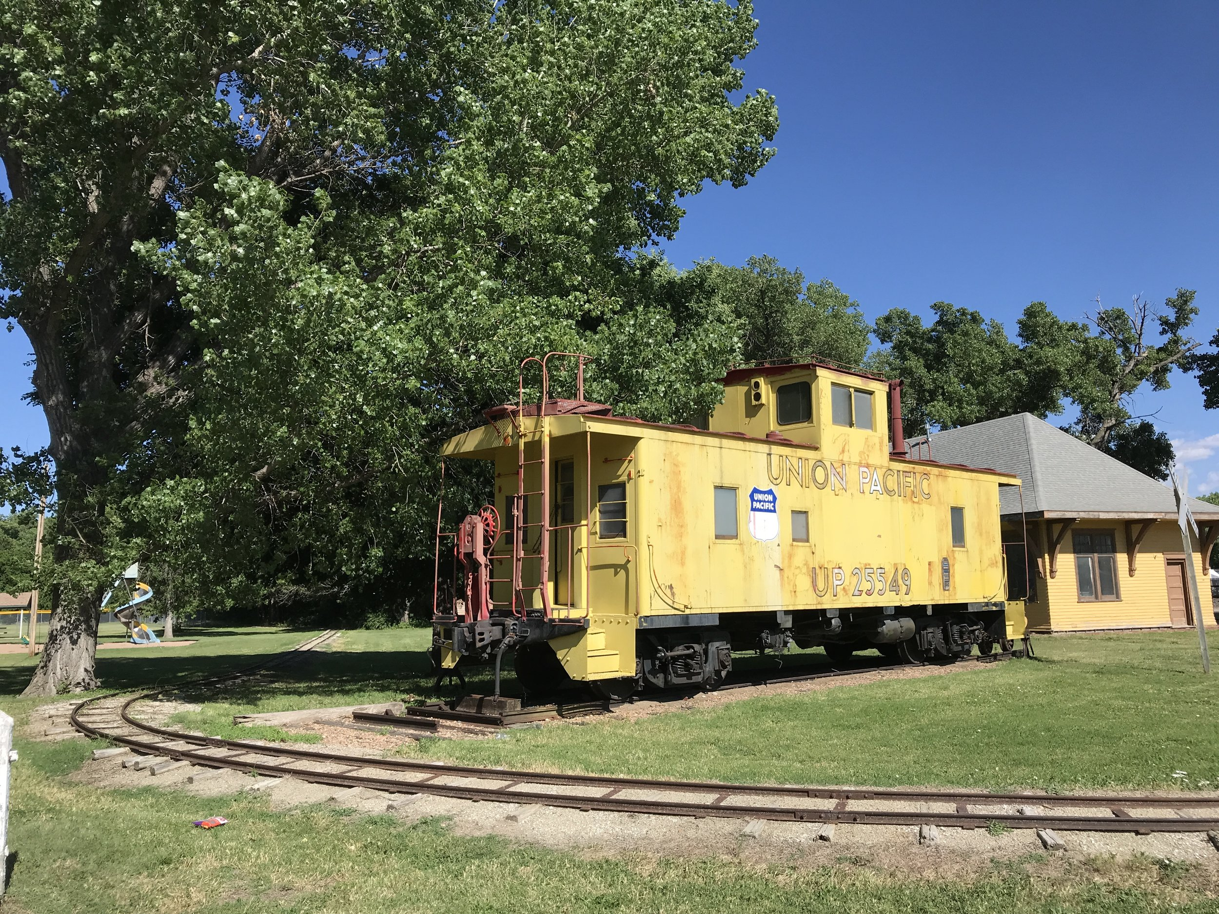 Outside the train museum in Ellis, KS.  The train tracks were for a miniature train that you can ride on the weekends - similar to the one at Balboa Park in San Diego.