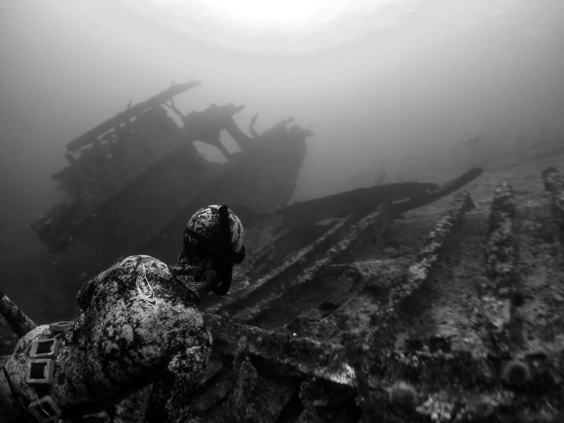 N. Schmidt and C. Adair, Exploring Sunken History in the Gulf Islands off Vancouver Island. Photo: C. Adair