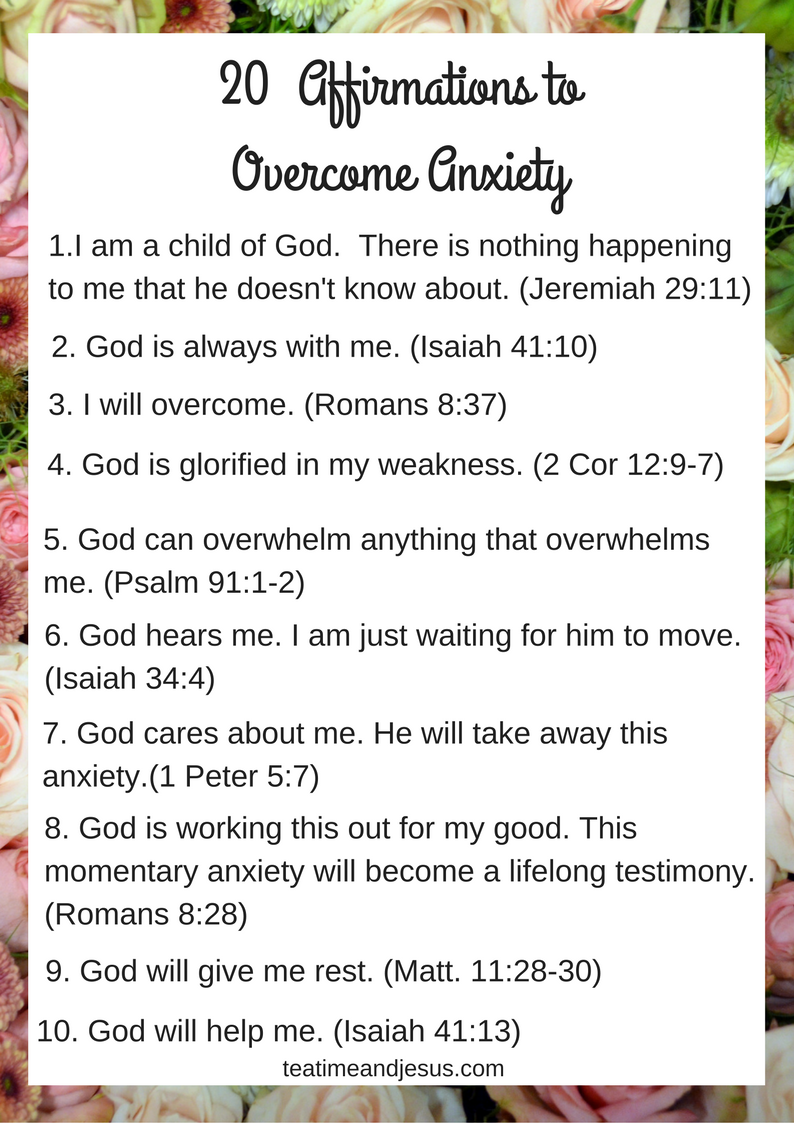 20 Affirmations for Overcoming Anxiety ...