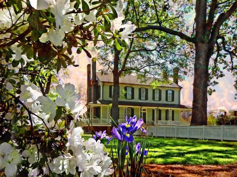 """The Blount-Bridgers House, also known as """"The Grove,"""" is a plantation house built in 1808. Today, it stands as a historical museum, art gallery, and event space."""