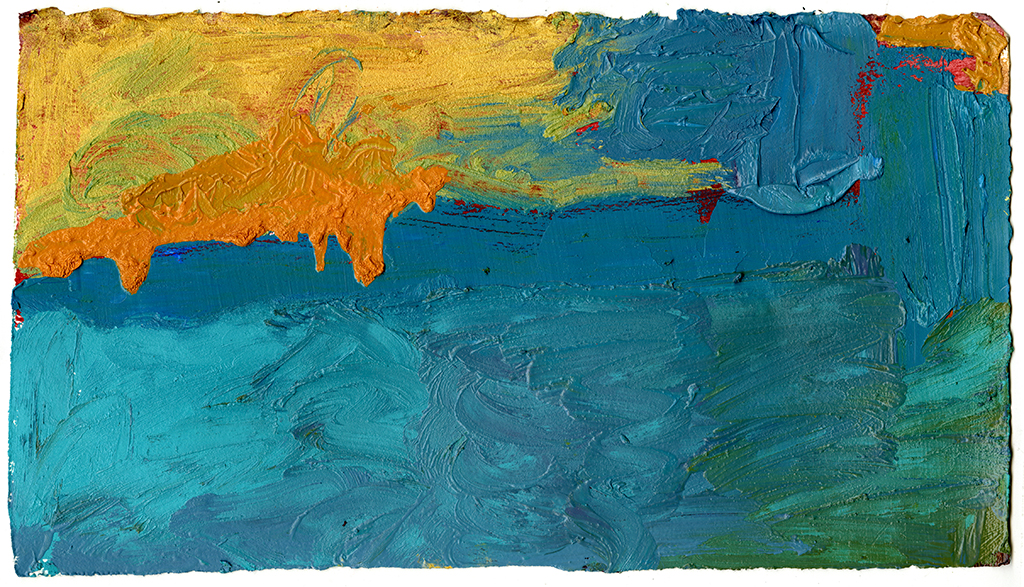 "Mariana Trench, 2016, oil on paper on cradled board, 15""x9"""
