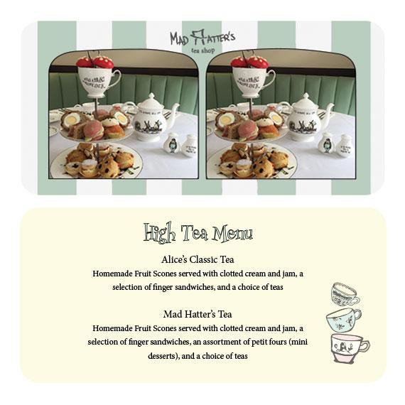 front & back of high tea menu - stereoscope card