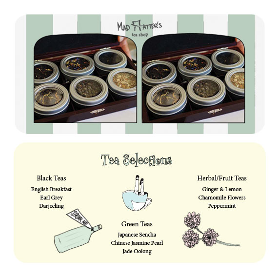 front & back of tea selection menu - stereoscope card