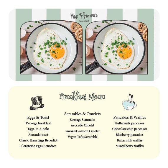 front & back of breakfast menu - stereoscope card