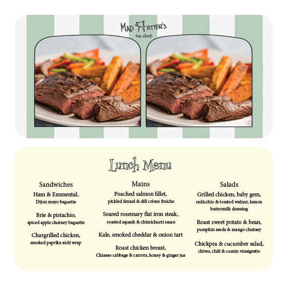 front & back of lunch menu - stereoscope card