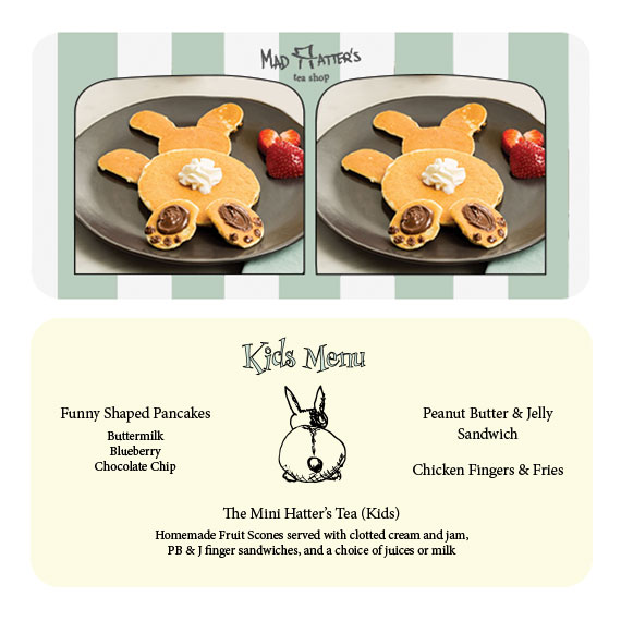 front & back of kids menu - stereoscope card