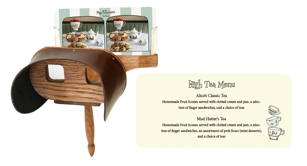 high tea menu stereoscope card. Left: front of card. right: back of card