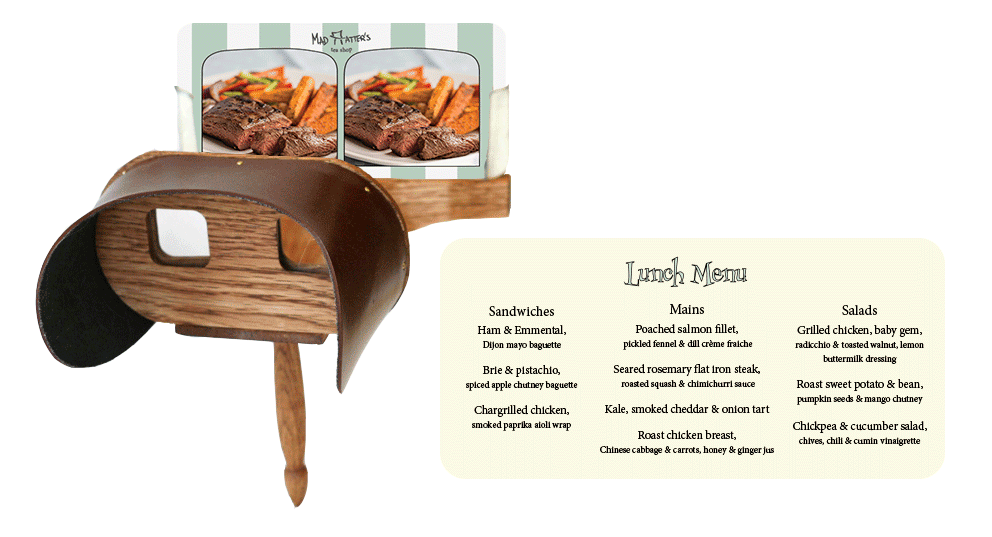 lunch menu stereoscope card. Left: front of card. right: back of card