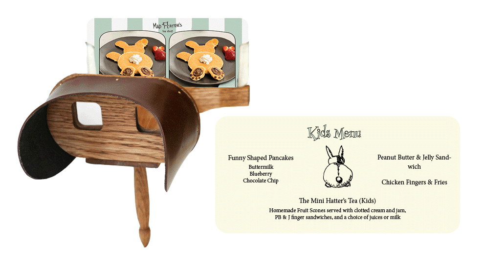 kids menu stereoscope card. Left: front of card. right: back of card