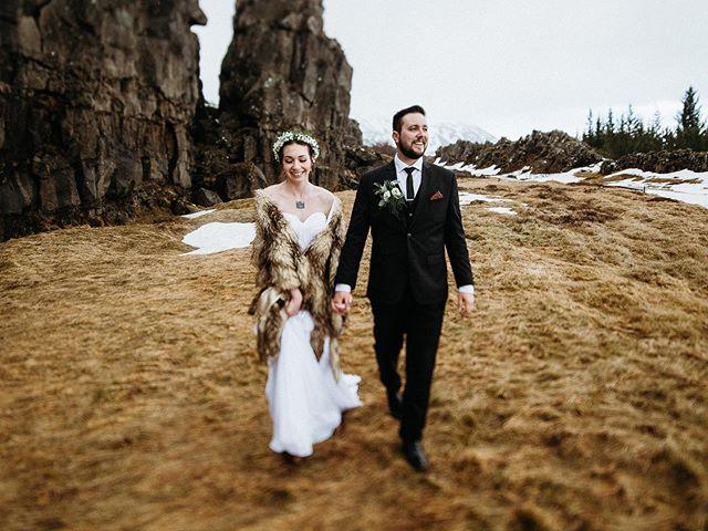 Icelandic winter wedding hiking.