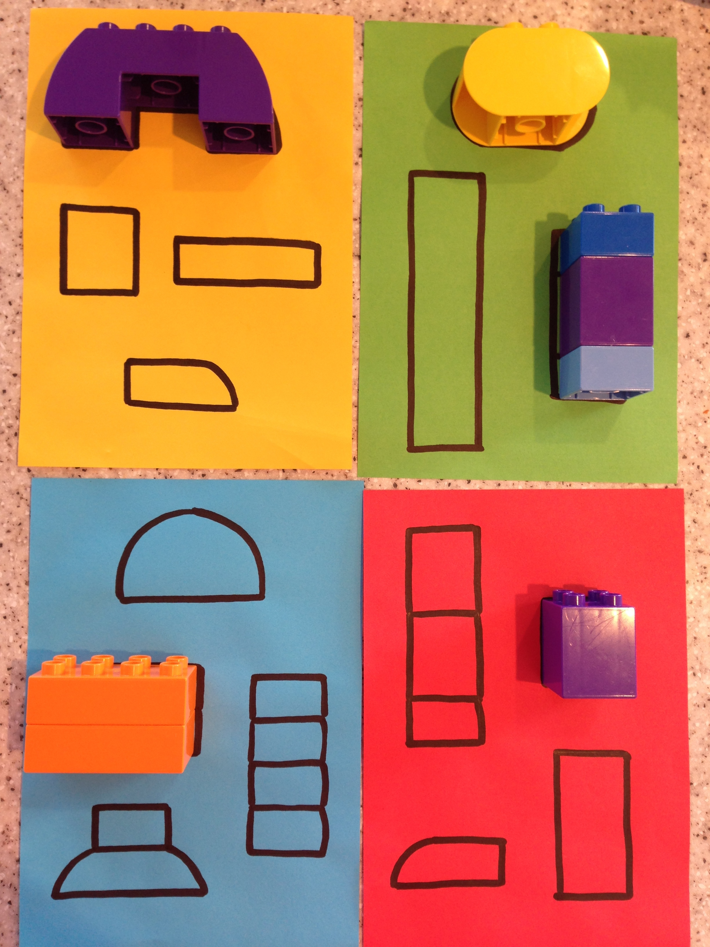 Lego shape puzzle - Instructions1. Put together pieces of lego into different shapes2. Trace around each shape on paper or card3. Your little one pairs up the pieces of lego with the shapes drawn on the paper