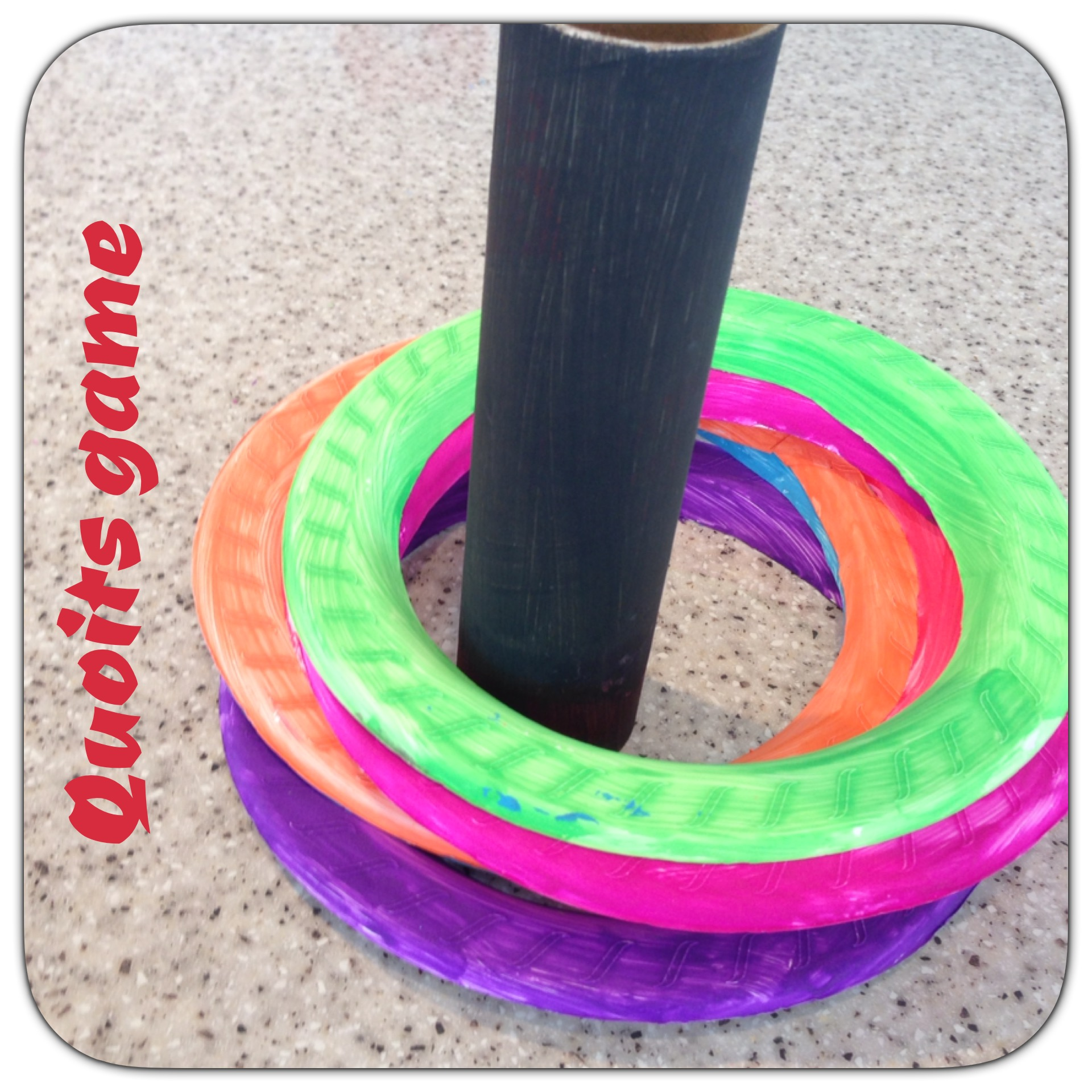 Quoits - Instructions1. Paint the inner cardboard tube from a packet of handi towels2. Cut out a small hole in a plastic plate (the size of the cardboard tube circumference) and glue the tube into the hole3. Cut the inner section out of several plastic plates4. Paint the outer circles different colors 5. Have different distances to stand behind and throw the quoits, getting different points - can play inside aswell