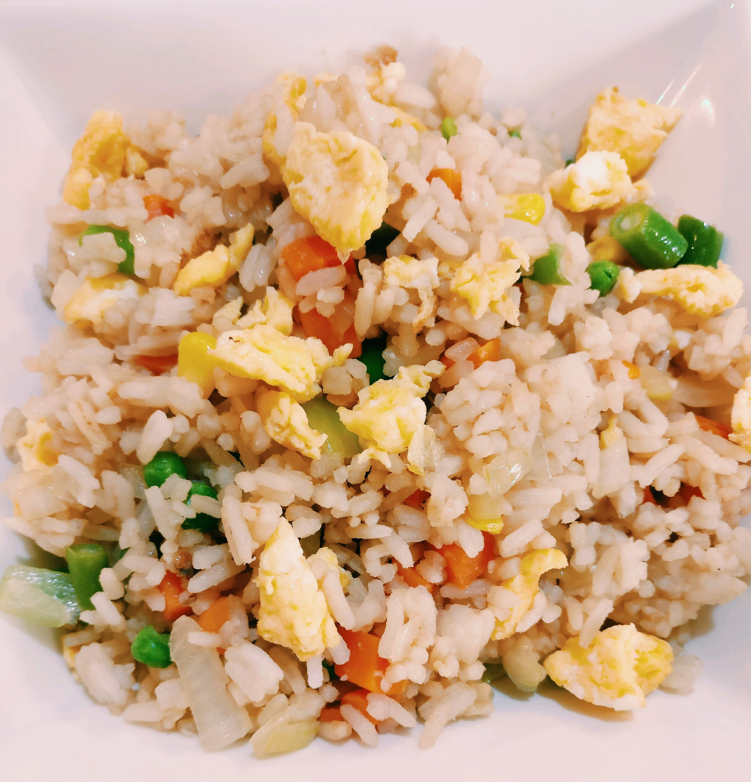 Egg Fried Rice - Ingredients3C Cooked Cold Rice1 Onion - Finely Diced3 Eggs - Whisked1C Frozen Veges1T Soy SauceMethod1. Whisk the eggs and fry in a large frying pan until cooked, remove from the frying pan2. Add the onion to the frying pan and cook though for 2-3 mins3. Add the rice and frozen veges to the onion and cook for 5-7 mins until veges are cooked though4. Add the soy sauce to the frying pan and stir to combine, cook 1-2 mins5. Add the cooked egg to the frying pan and stir to combine