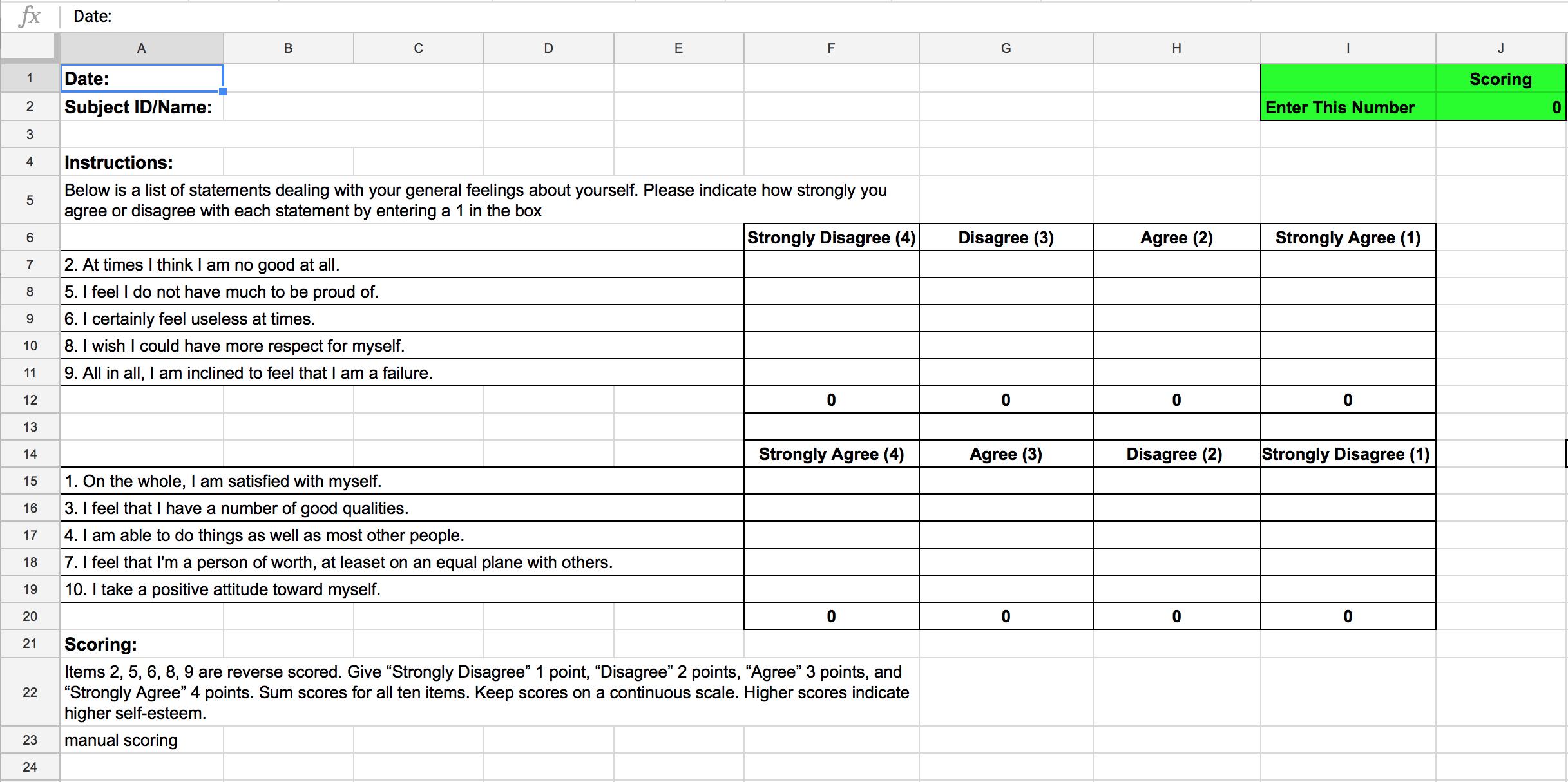 Sample of a google sheet assessment