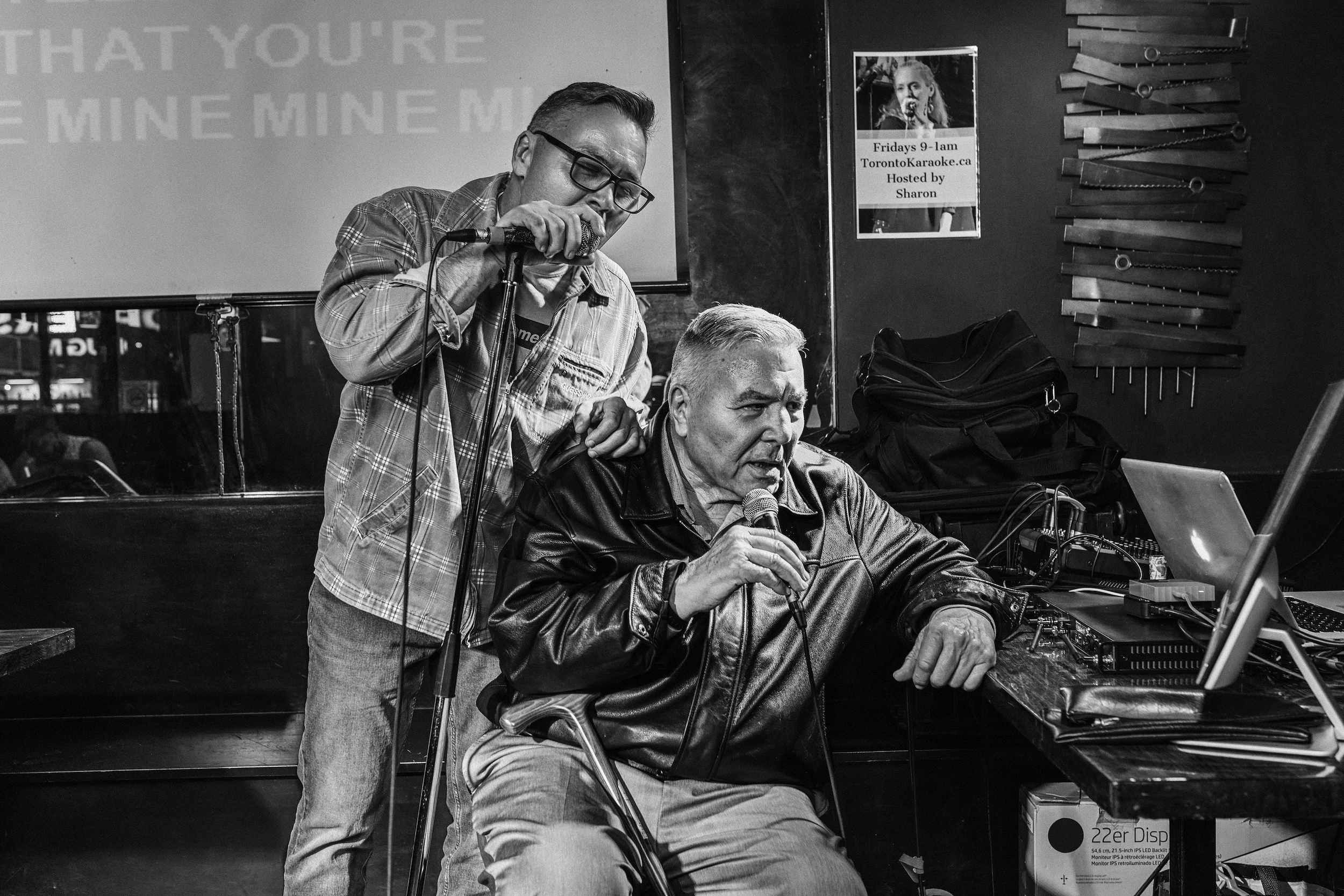 George Chuvalo singing karaoke with his son Mitch at the Pegasus Bar & Grill
