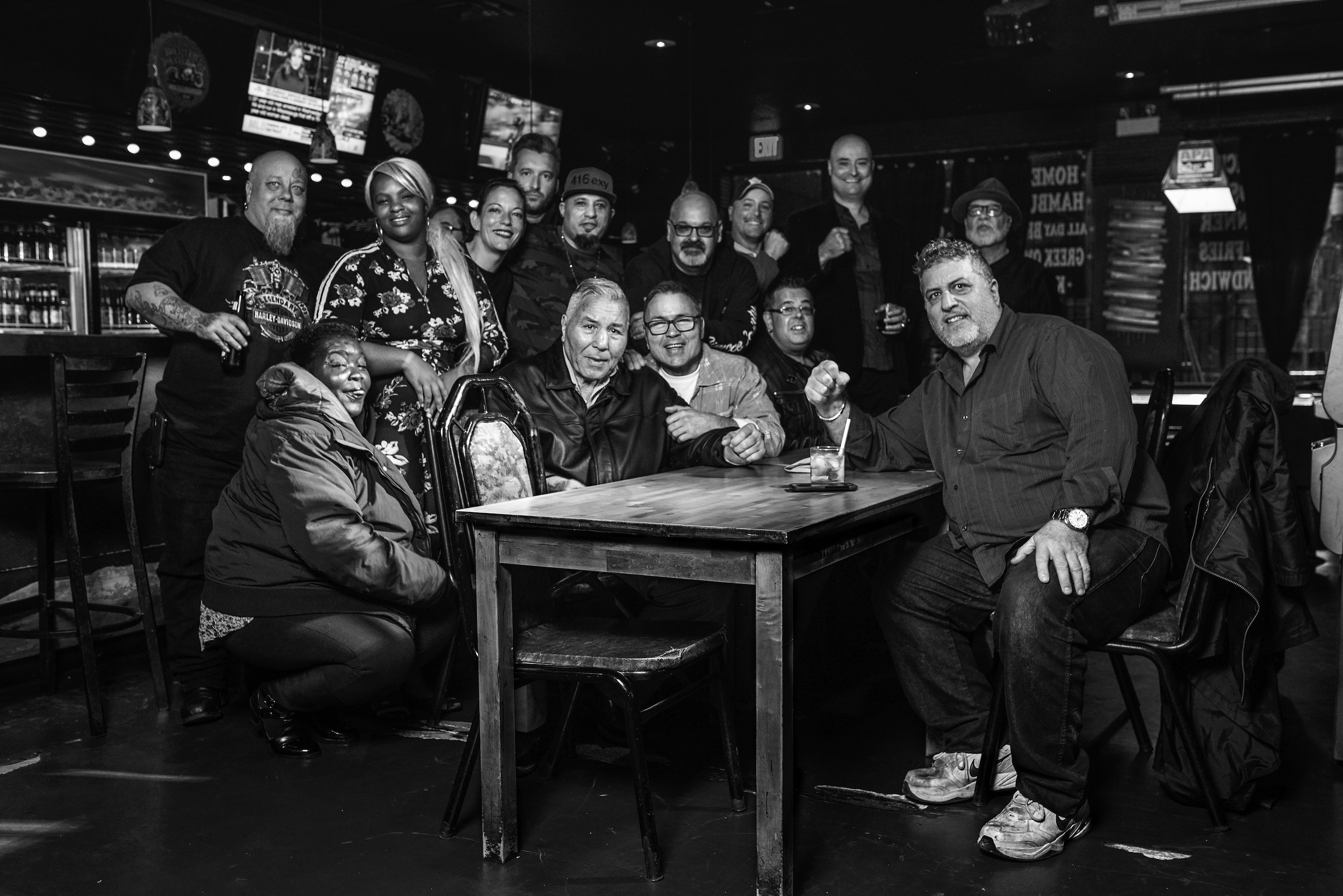 Group photo including George Chuvalo & his son Mitch at the Pegasus Bar & Grill in the Junction, Toronto