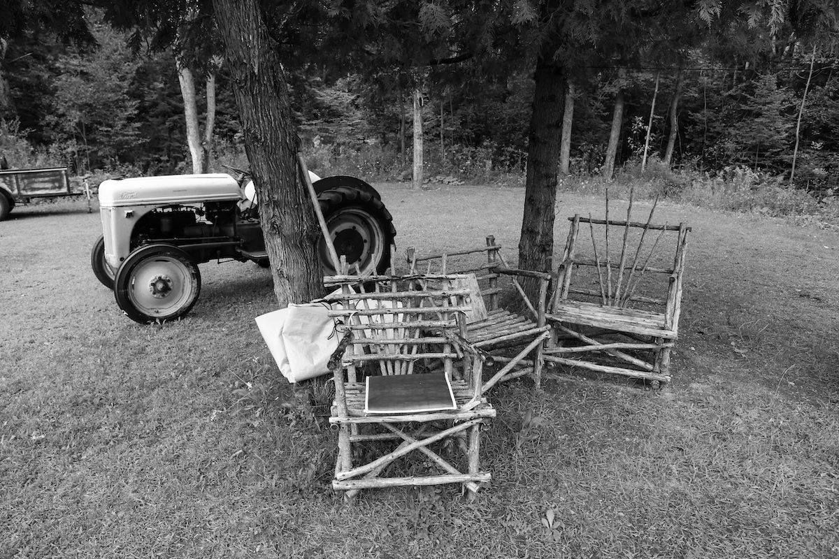 tractor & wooden lawn chairs, Six Nations
