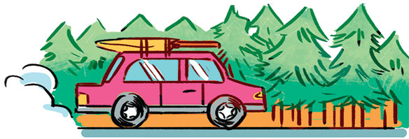 illustration of a vehicle packed up to head out on vacation