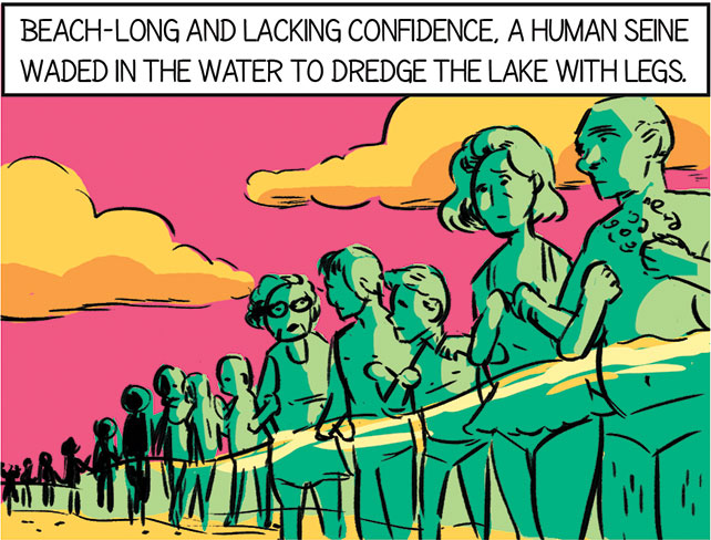 illustration of a people with linked arms wading through the water to look for the missing child