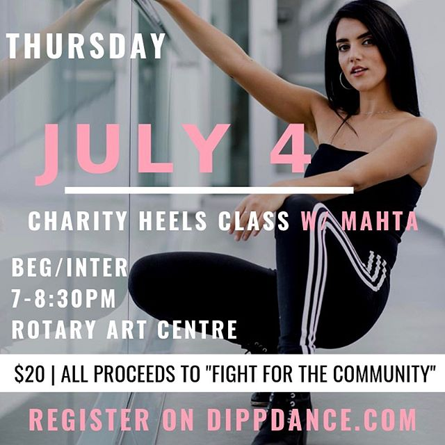 DIPP DANCE CHARITY CLASS THIS THURSDAY! 👇🏽 • Fight For the Community III is a charity boxing event that helps raise funds for three local, charitable organizations: Ozanam House, Karis Support Society and Freedom's Door. With the help of Elevation Outdoors, proceeds collected will go towards exercise and rehabilitative programs for recovering addicts in our community. This marks the third year of this event! • Register on dippdance.com! • Thursday, July 4th 7-8:30PM Rotary Art Centre $20  Heels Class 👠 *all proceeds will be donated to Fight for the Community