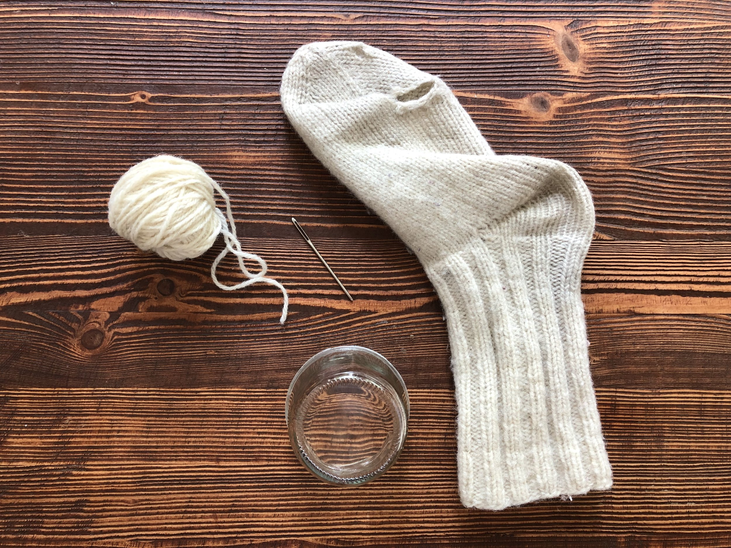 supplies you will need to mend your socks