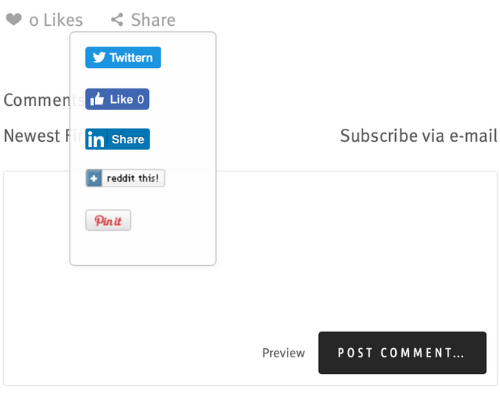 Abb 2: Teilen-Optionen inklusive Pinterest