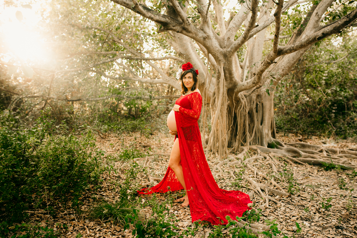 Red Maternity Dress with Banyan Tree
