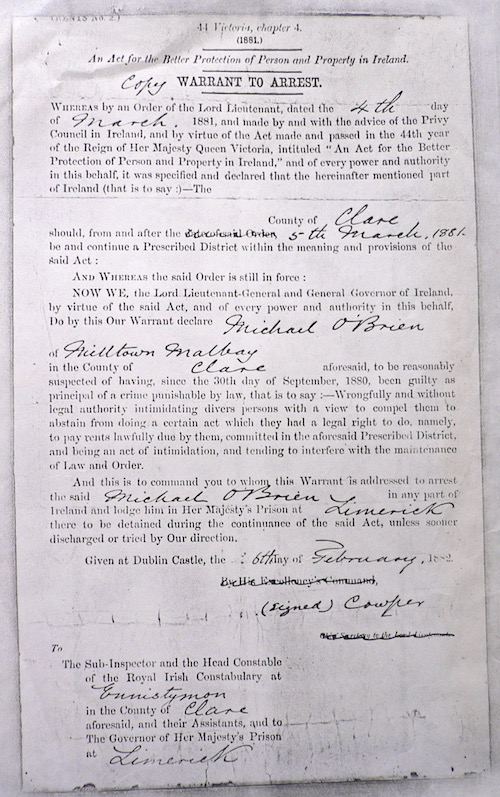 Copy of Arrest warrant for Michael O'Brien