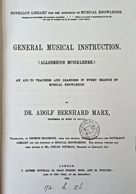 "Copy of Dr Marx's ""General Musical Instruction"""