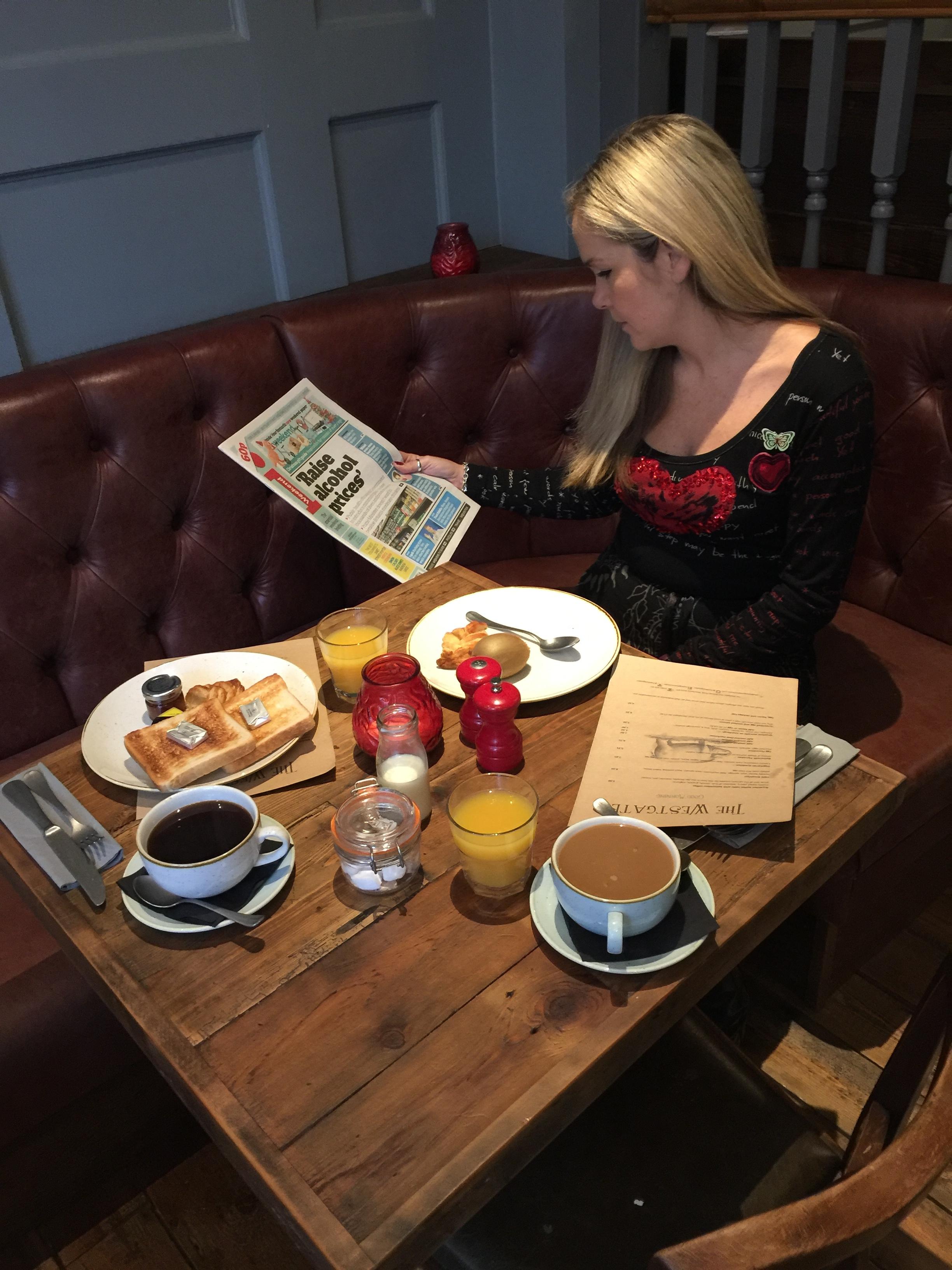 Kelly enjoying the Westgate breakfast