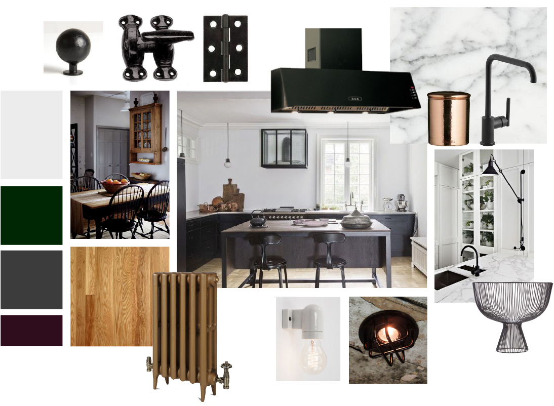 Mood-board that was created for the kitchen in the design stages.